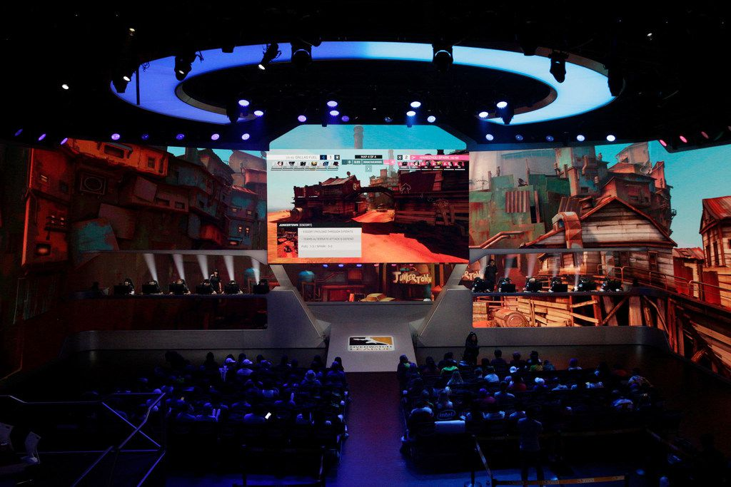 The Dallas Fuel plays the Hangzhou Spark in a professional gaming match in Burbank, Calif. on Thursday, Aug. 15, 2019. The Hangzhou Spark won 3-1. (Liz Moughon/Special Contributor)