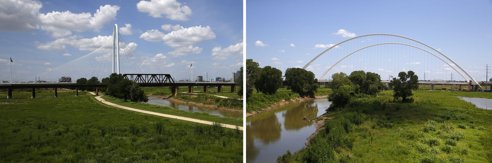 The proposed Harold Simmons Park would stretch from just north of the Margaret Hunt Hill bridge (left) to the Margaret McDermott Bridge (right), between the Trinity River levees in Dallas.