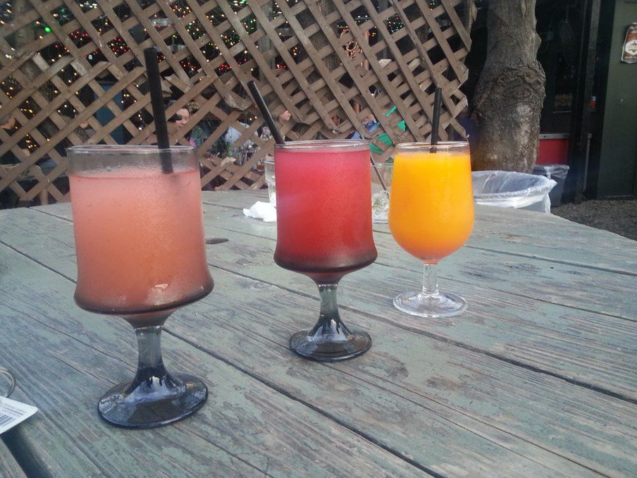 Left to right: The Grapevine's signature frozen drinks, the Bellini, Pom Pom and Tangarita.