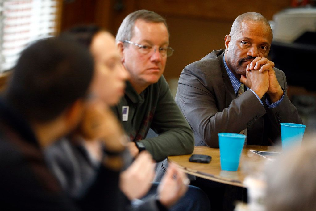 Lavelle Hendricks (right) is a professor of counseling at Texas A&M University Commerce. He and other counseling staff from the school listened to student Caleta Mendoza share her thoughts to mental heath and faith recently.