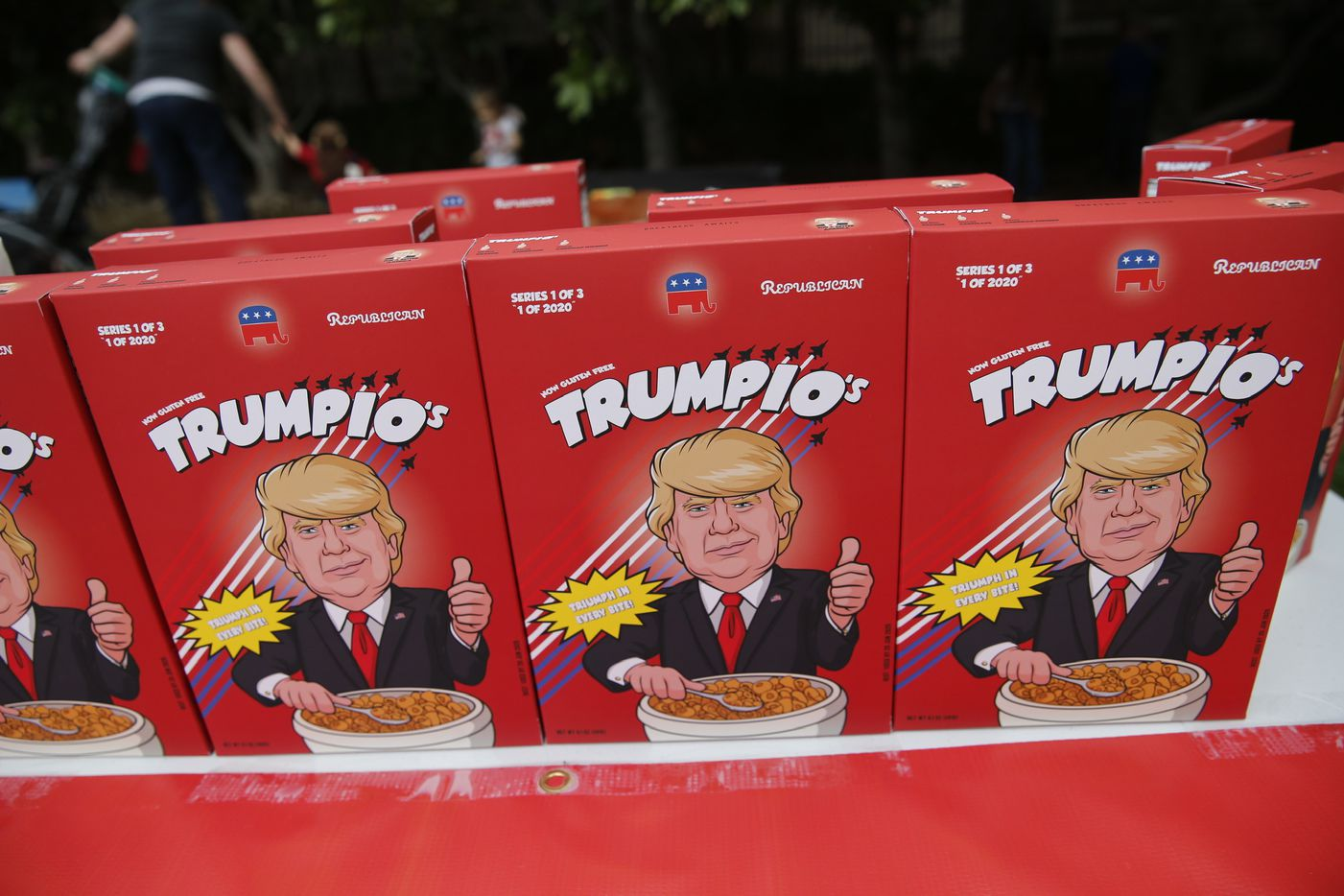 Trumpio's cereal for sale outside of the Keep America Great Rally for President Donald Trump at the American Airlines Center in Dallas, on Thursday, October 17, 2019.
