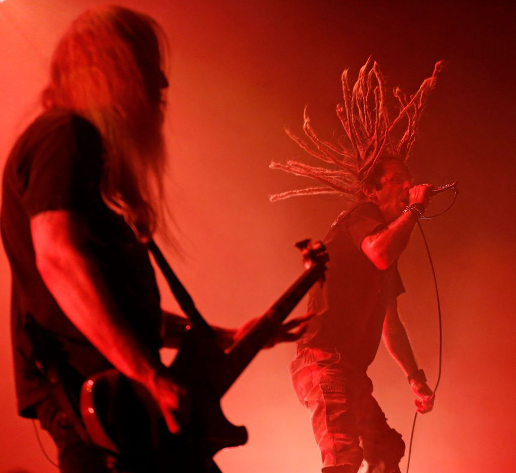 Lamb of God vocalist Randy Blythe flails his dreadlocks during the band's opening set for Slayer's Dallas farewell show Tuesday at the Bomb Factory. (Louis DeLuca/The Dallas Morning News)