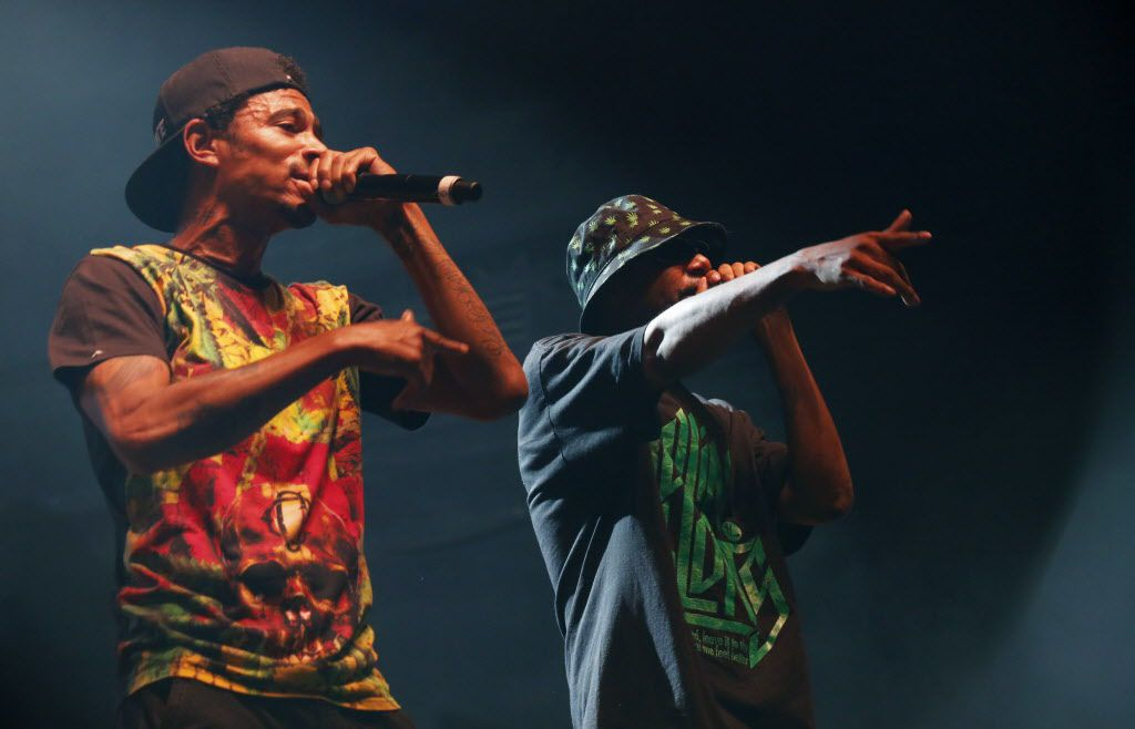 Bone Thugs-N-Harmony performs during the Kings Of The Mic concert at Gexa Energy Pavilion.