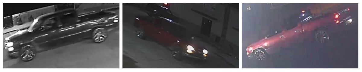 Police released images of a red pickup that was a suspect vehicle in the shooting.