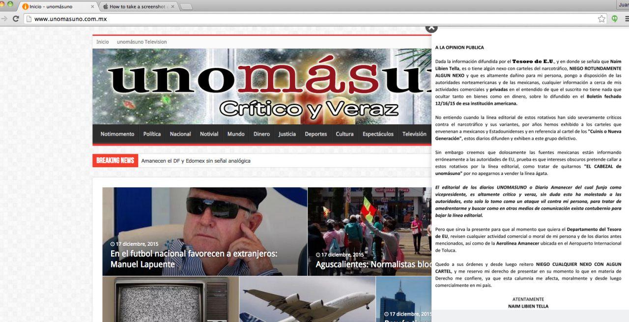 """El diario """"Unomasuno"""" sacó un editorial en el que se defiende de las acusaciones del gobierno de Estados Unidos que los vincula con el narcotráfico.(CAPTURA DE PANTALLA)"""
