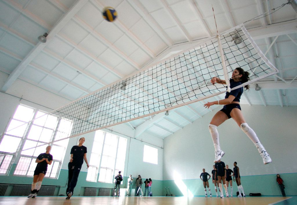 Team USA women's volleyball player Juliann Faucette spiked during a workout in 2008 in Tianjin, China. At the time, she was a freshman at the University of Texas.