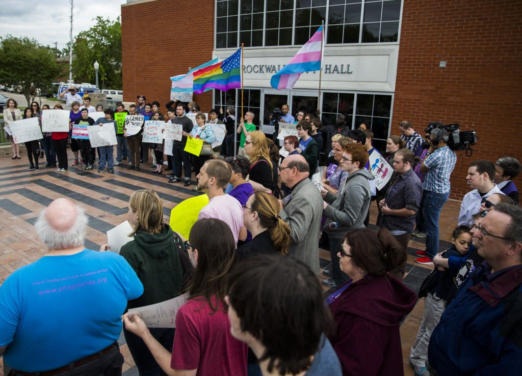 Protestors who oppose an ordinance proposed Rockwall Mayor Jim Pruitt gather outside Rockwall City Hall before a city council meeting on Monday, May 2, 2016 at Rockwall City Hall. The ordinance would have required people to use the restroom according to their birth sex. (Ashley Landis/The Dallas Morning News)