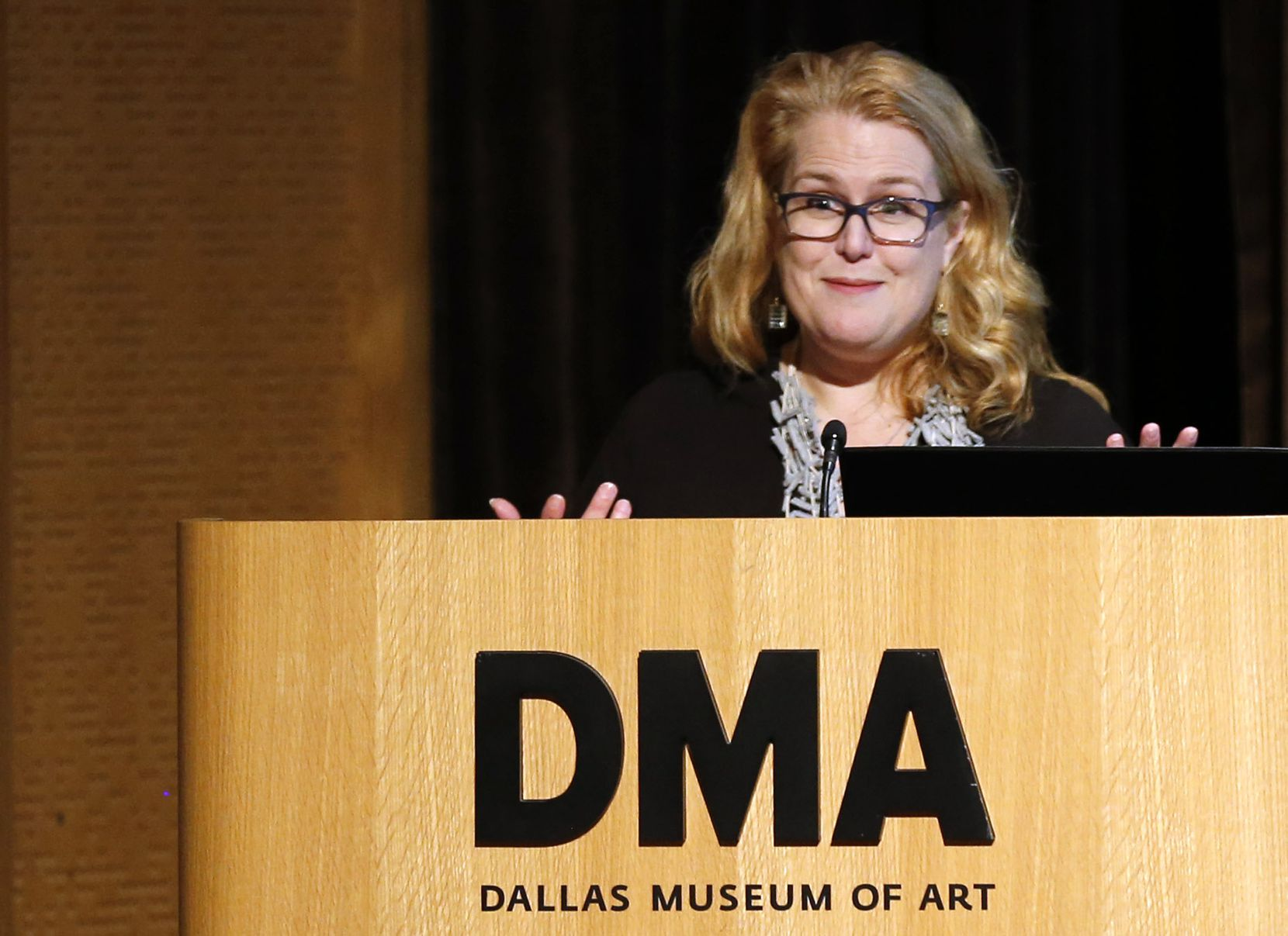 """Sarah Schleuning talks about the art installation """"Speechless: Different by Design"""" at the Dallas Museum of Art on Tuesday, Nov. 5, 2019."""