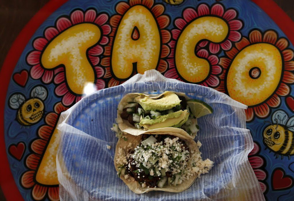 Two tacos, Puerco Verde and Carne Asada, at Tacodeli in Sylvan Thirty in Dallas, Wednesday, Jan. 27, 2016. (Jae S. Lee/The Dallas Morning News)