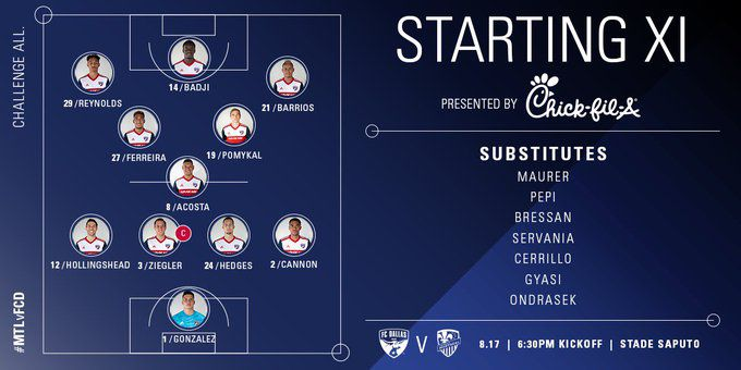 FC Dallas starting XI at Montreal Impact. (8-17-19)