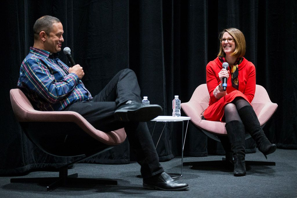 Culture critic Chris Vognar and KERA Think host Krys Boyd speak at The Dallas Morning News' Duets event on Nov. 13, 2018.