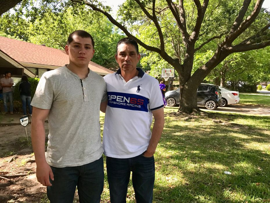 Juan Gonzalez and Johnny Gonzalez stand in front of their south Irving home a day after Janeera Nikol Gonzalez was killed at North Lake College.