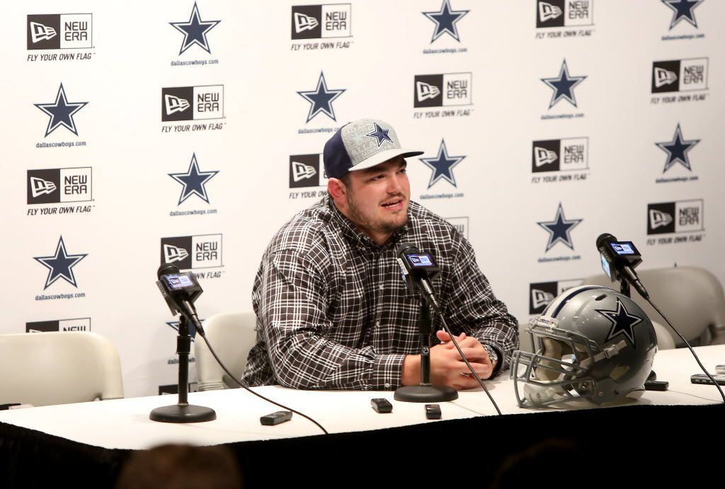 Dallas Cowboys first round pick Zack Martin talks with area media during a press conference at the Cowboys Training Facility at Valley Ranch Irving, Texas on Friday, May 9, 2014.  Saturday is the third day of the NFL Draft, (Brad Loper/The Dallas Morning News)