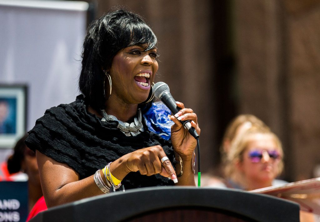 Carmarion Anderson, cofounder and president of Black Transwomen, Inc., spoke at a One Texas Resistance rally on Tuesday, the first day of a legislative special session, in Austin.