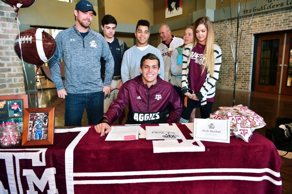 Liberty Christian School quarterback Nick Starkel signs to play football at Texas A&M University at Liberty Christian School's National Signing Day event, Wednesday, February 3, 2016, in Argyle, Texas. David Minton/DRC ORG XMIT: txder