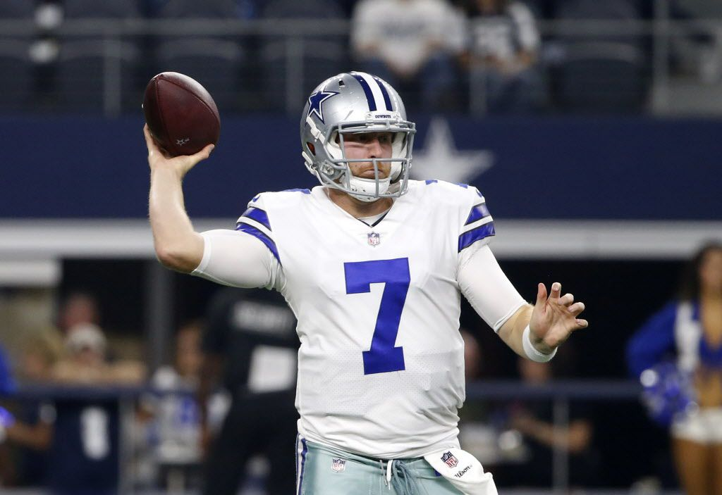 Dallas Cowboys quarterback Cooper Rush (7) throws a pass in the second half of a preseason NFL football game against the Oakland Raiders on Saturday, Aug. 26, 2017, in Arlington, Texas. (AP Photo/Michael Ainsworth)