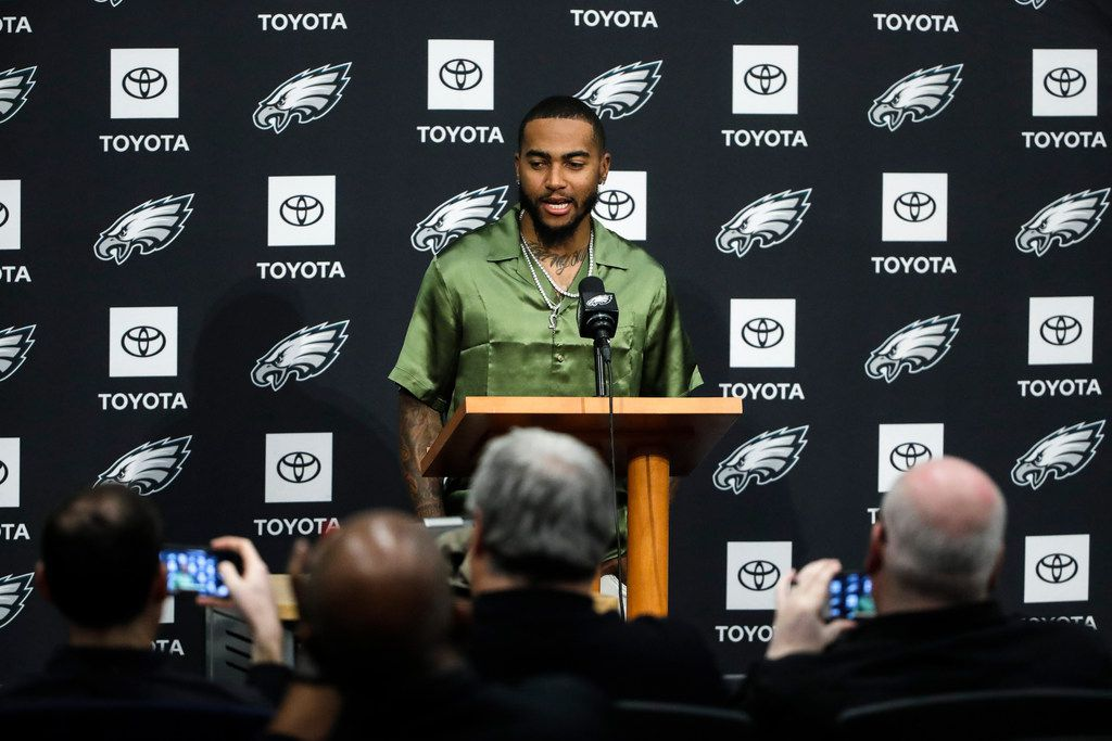 Philadelphia Eagles' DeSean Jackson speaks with members of the media during a news conference at the team's NFL football training facility in Philadelphia, Thursday, March 14, 2019. (AP Photo/Matt Rourke)