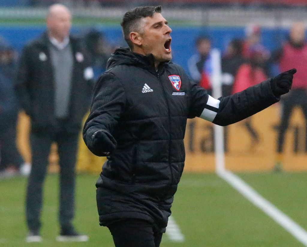 FC Dallas head coach Luchi Gonzalez reacts to play during the first half as FC Dallas hosted New England Revolution at Toyota Stadium in Frisco on Saturday, March 2, 2019.  (Stewart F. House/Special Contributor)