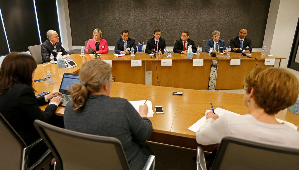 From left: Democratic candidates for the 32nd Congressional District Brett Shipp, Lillian Salerno, George Rodriguez, Ed Meier, Todd Maternowski, Ron Marshall and Colin Allred attend a meeting with The Dallas Morning News editorial board on Thursday, Feb. 8, 2018.