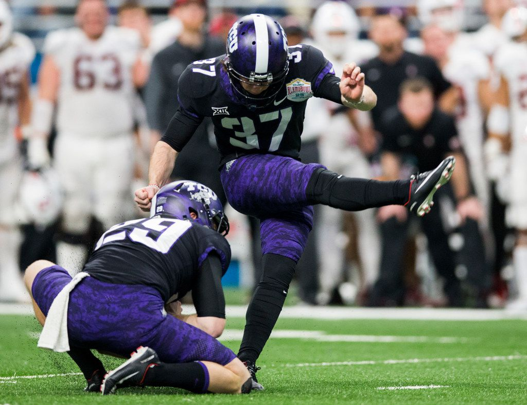TCU Horned Frogs place kicker Cole Bunce (37) kicks the winning field goal during the fourth quarter of the Valero Alamo Bowl between TCU and Stanford on Thursday, December 28, 2017 at the Alamodome in San Antonio. TCU Horned Frogs won 39-37. (Ashley Landis/The Dallas Morning News)