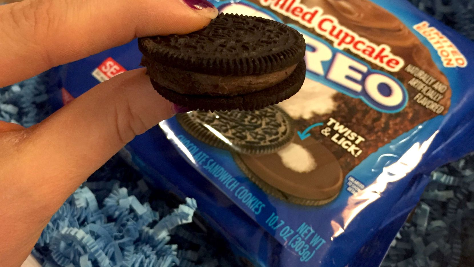Chocolate on chocolate, with a dab of white creme. That's Oreo's new Filled Cupcake cookie.