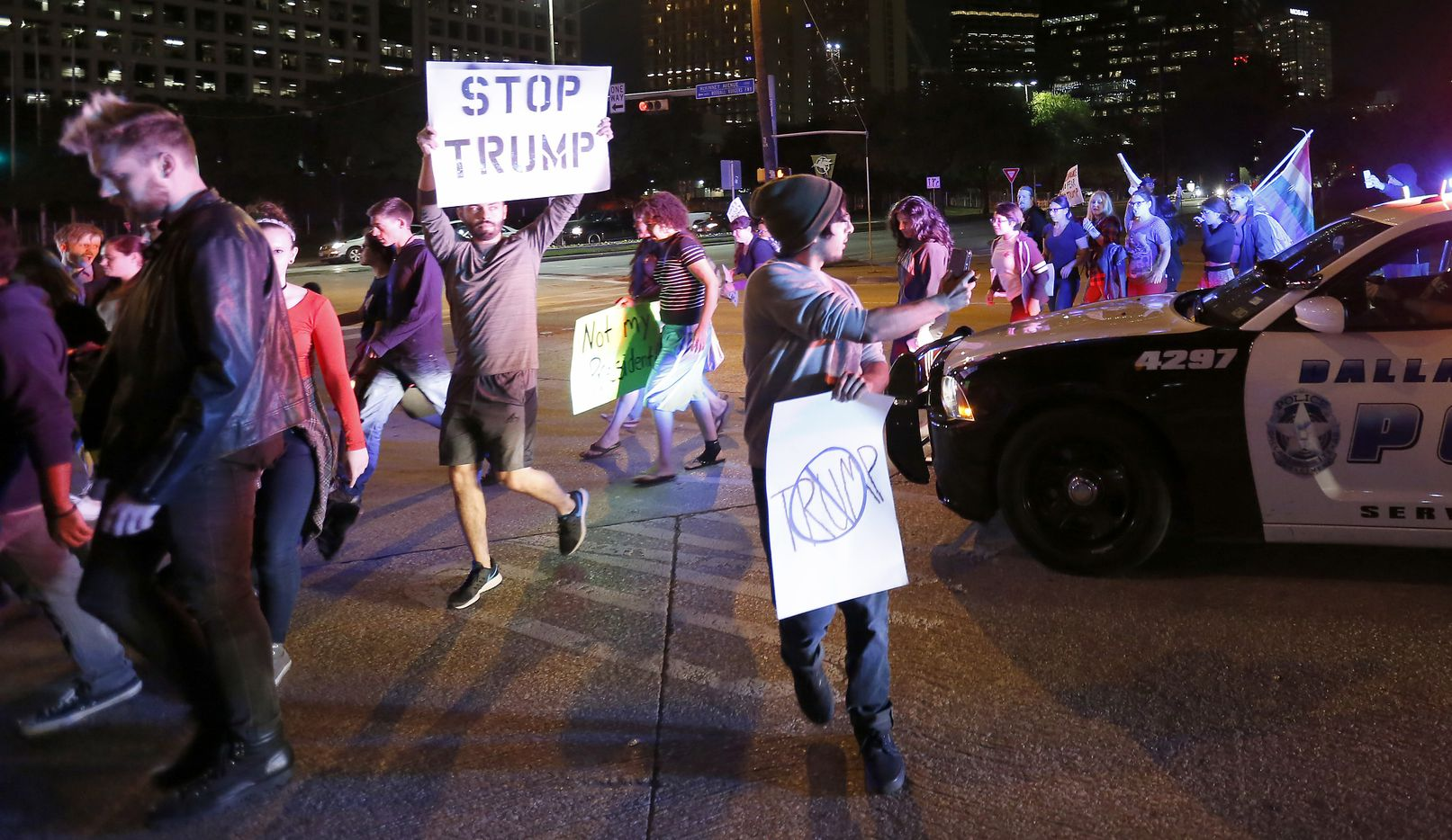 Protesters against President-elect Donald Trump march in downtown Dallas, Thursday, Nov. 10, 2016.