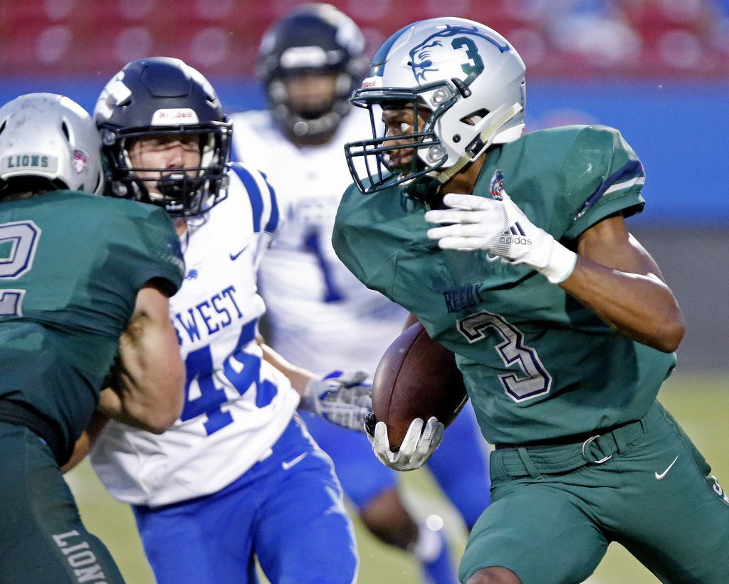 Reedy High School wide receiver Karim Muhammad (3) returns a field goal attempt to end the first half as Reedy High School hosted Plano West High School in a non-district football game at Toyota Stadium in Frisco on Thursday, August 28, 2019. (Stewart F. House/Special Contributor)