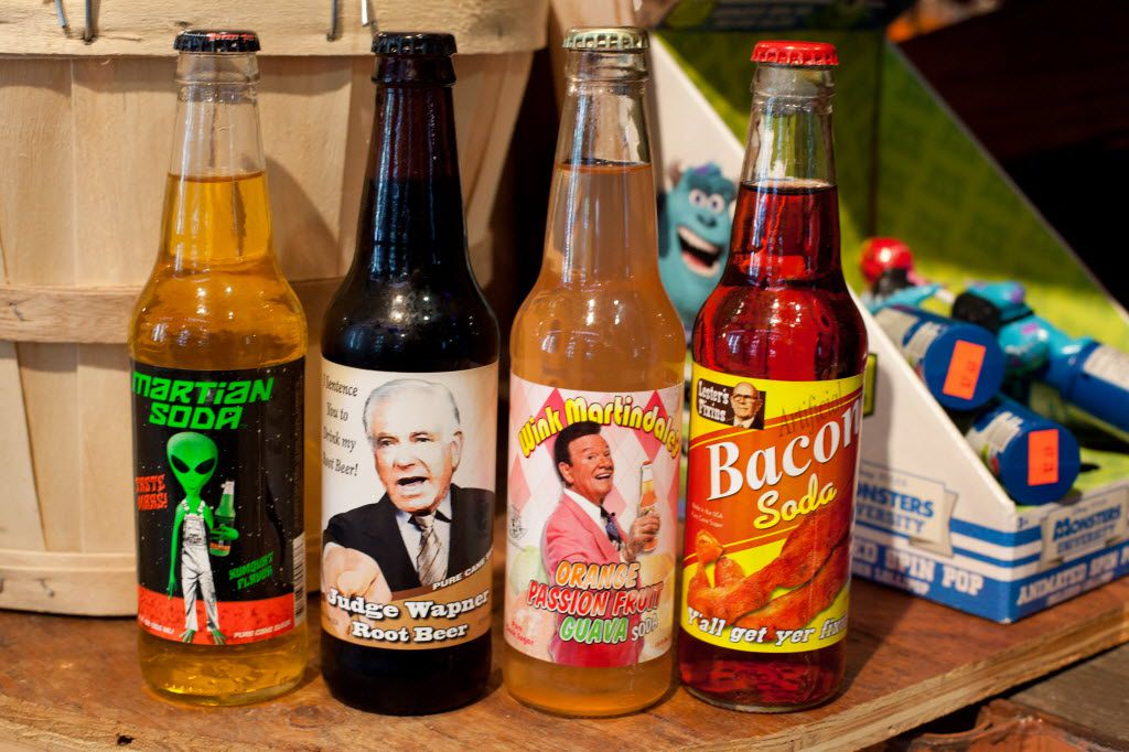 The assortment of sodas includes Martian Soda, which glows in the dark under a black light.