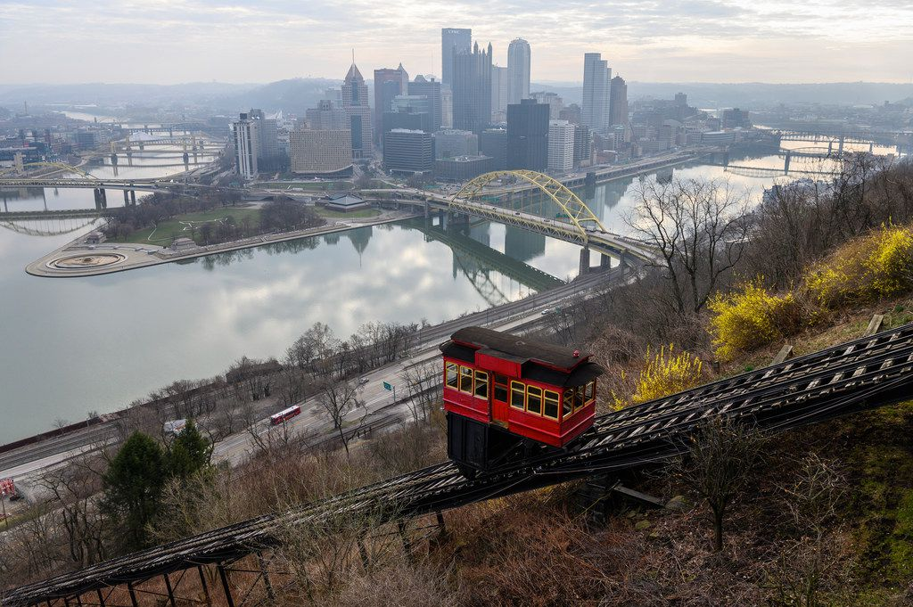The Duquesne Incline opened in May of 1877. The funicular railway carries passengers to and from Pittsburgh's Mount Washington and the Monongahela River.