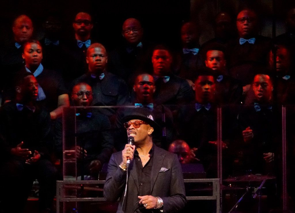 """Rahsaan Patterson sang with the 200 member choir during the """"Black Music and the Civil Rights Movement Concert"""" at the Morton H.Meyerson Symphony Center in Dallas, Texas on Jan. 14."""