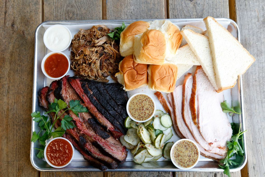 Brisket, pulled pork, smoked turkey served from the kitchen at Treaty Oak Brewing & Distilling in Dripping Springs.