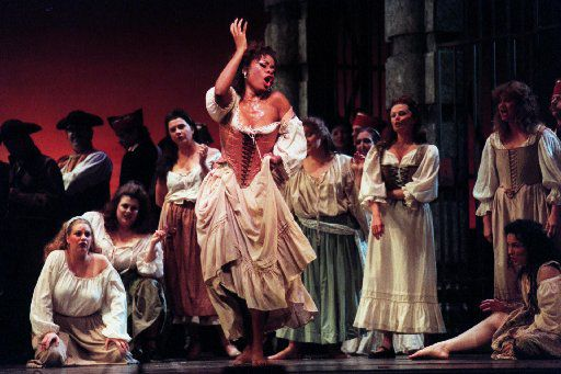 Denyce Graves (center) as Carmen in Georges Bizet's  Carmen at Music Hall in Fair Park in 2004.
