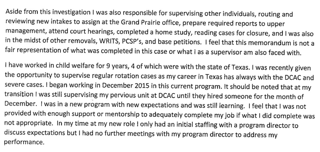 CPS supervisor Amber Davila, in a rebuttal to her firing, complained that she did not receive adequate support from her bosses.
