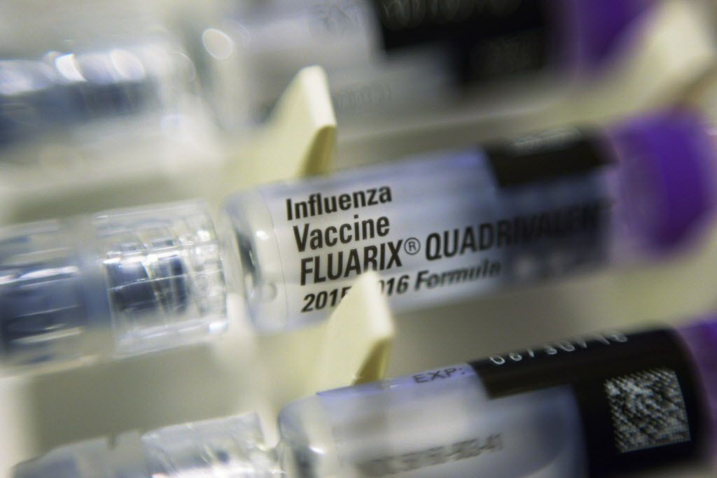 Vials of flu vaccine