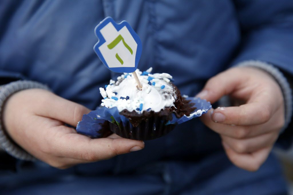 Frisco's Hanukkah celebration included cupcakes with dreidel-shaped toppers.