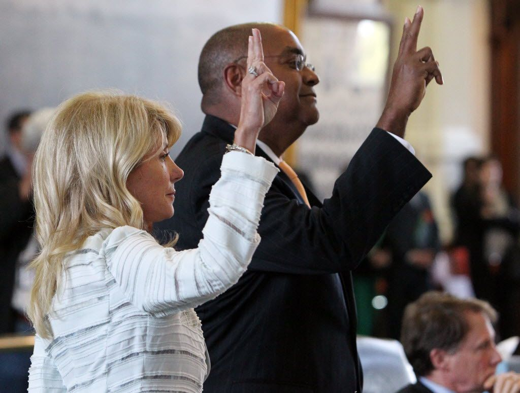 State Sen. Wendy Davis and colleague Rodney Ellis voted that the point of order would not be counted against her during her filibuster.