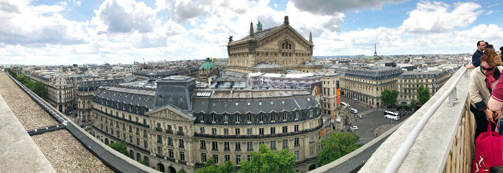 A panoramic view of Paris taken from the roof of Galeries Lafayette department store on Boulevard Hausmann