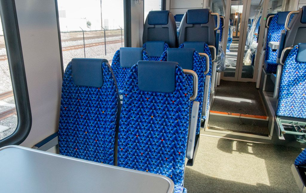 """TEXRail cars have bicycle and luggage racks and plug-ins for electronics. The last section of the train is intended as a """"quiet car,"""" where talk is to be kept low and music will be prohibited."""