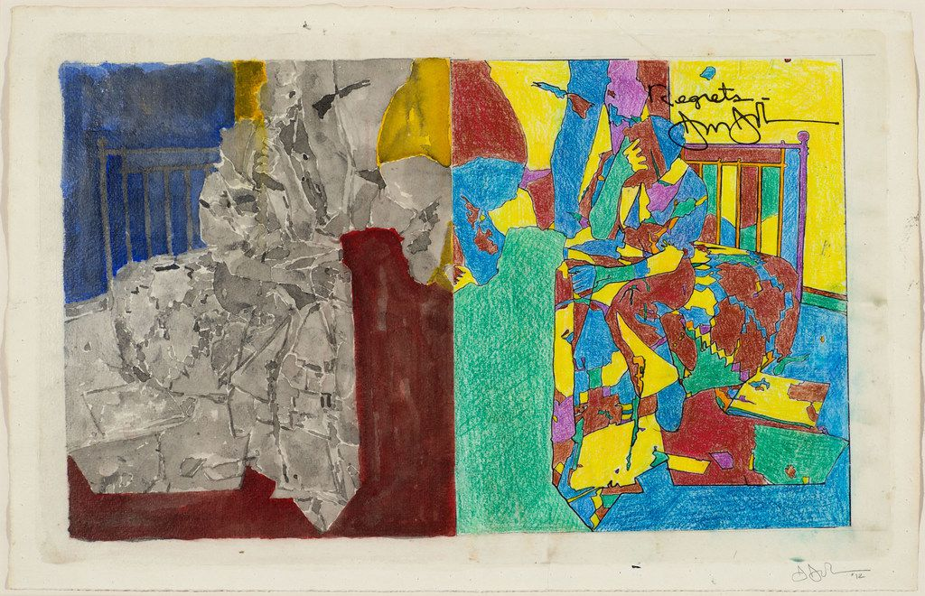 Jasper Johns, 'Study for Regrets,' 2012. Watercolor, colored pencil, ink, photocopy collage and acrylic on paper. Promised Gift from the Collection of Louisa Stude Sarofim.   2018 Jasper Johns / Licensed by VAGA at Artists Rights Society (ARS), NY Johns, Jasper