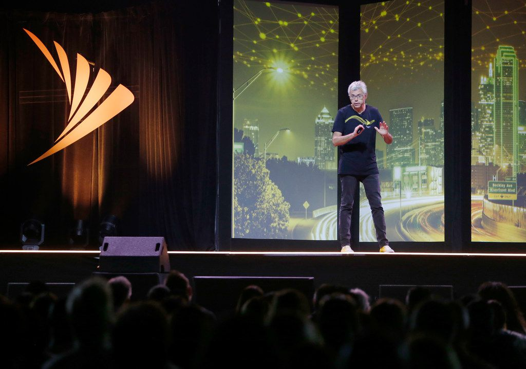 Sprint CEO Michel Combes spoke to Sprint employees at the Bomb Factory in Dallas on June 21, 2018.