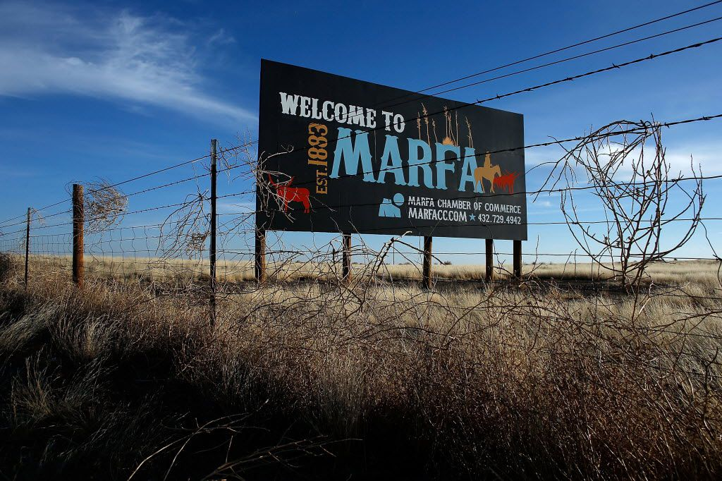 A Marfa sign is seen on the outskirts of town