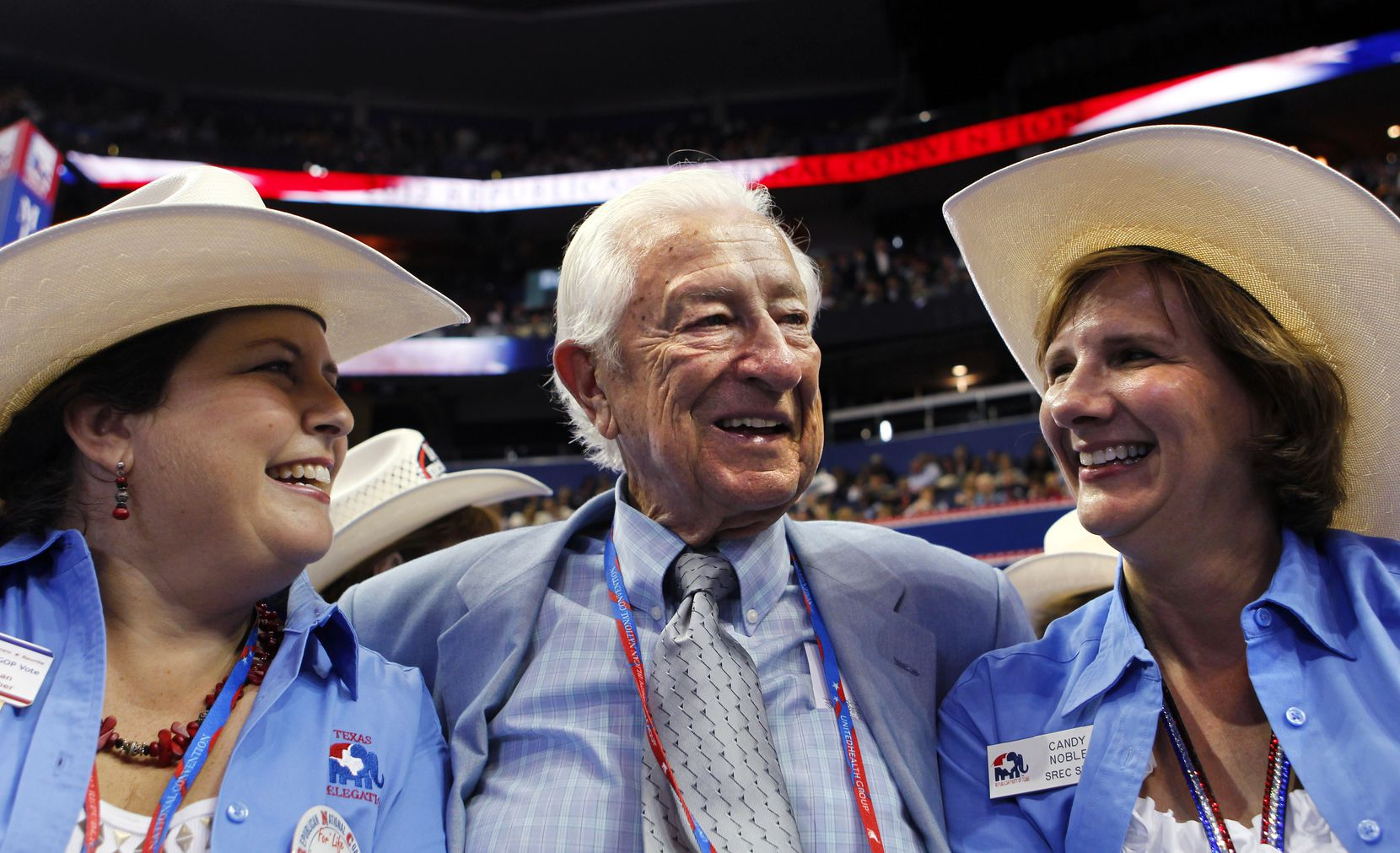 (l-r) Susan Fletcher of Frisco, Rep. Ralph Hall and Candy Noble of Plano at the Republican National Convention in Tampa, Fla., on Aug. 29, 2012.