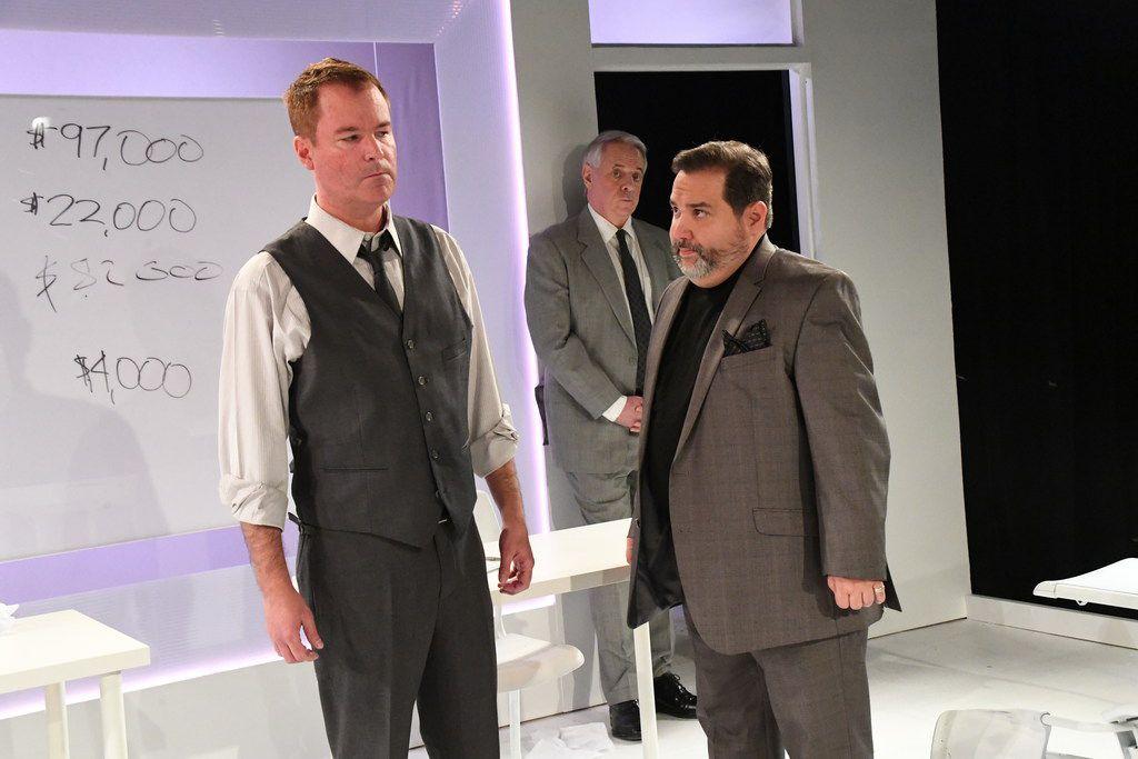 Shane Beeson (left), Mark Oristano (back) and Joe Messina in  Glengarry Glen Ross.