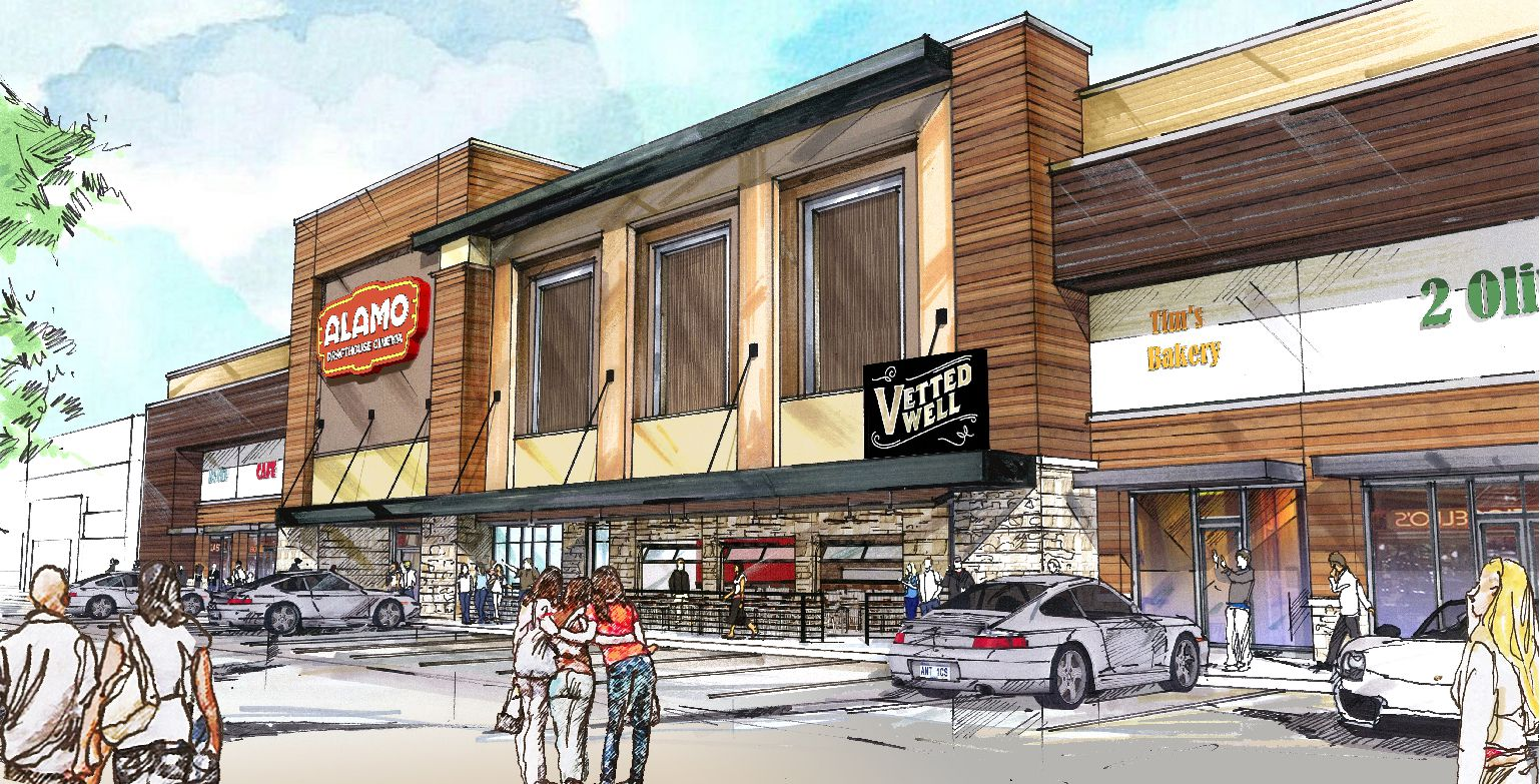 Hodges Architecture's renderings for the exterior of Dallas' second Alamo Drafthouse, coming to (nearest) Lake Highlands in spring of 2017