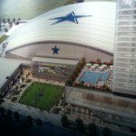 The multi-use event center at The Star in Frisco will open onto a plaza with the Omni Frisco Hotel on the right and a two-story retail and conference center on the left.