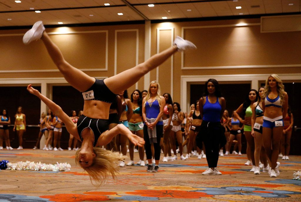 Allyson Fawley of Georgetown dances during the first day of the Dallas Mavericks Dancers auditions at the Hilton Anatole in Dallas on Saturday, July 15, 2017.
