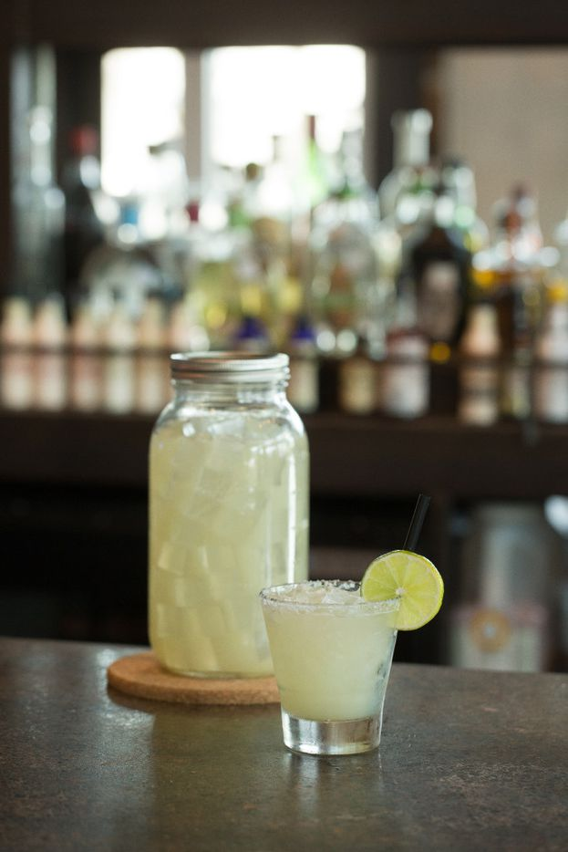 Tacos and Tequilas' 64-ounce Mason jar filled with house margaritas on the rocks
