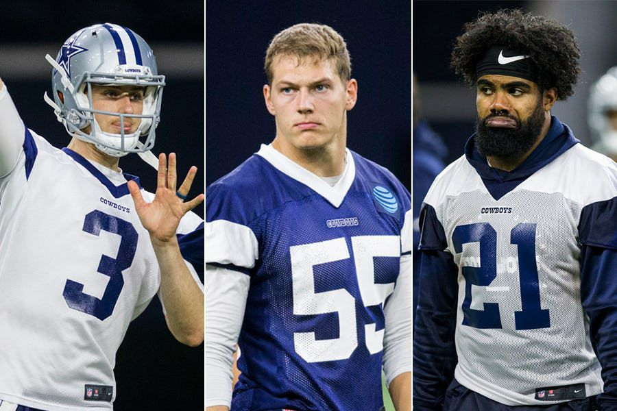 Left to right: Cowboys quarterback Mike White, linebacker Leighton Vander Esch and running back Ezekiel Elliott.
