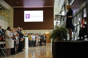 Debbie Branson, Chair of the Parkland Board of Managers, kicks off the dedication of the new Parkland Memorial Hospital. (Tom Fox/The Dallas Morning News)