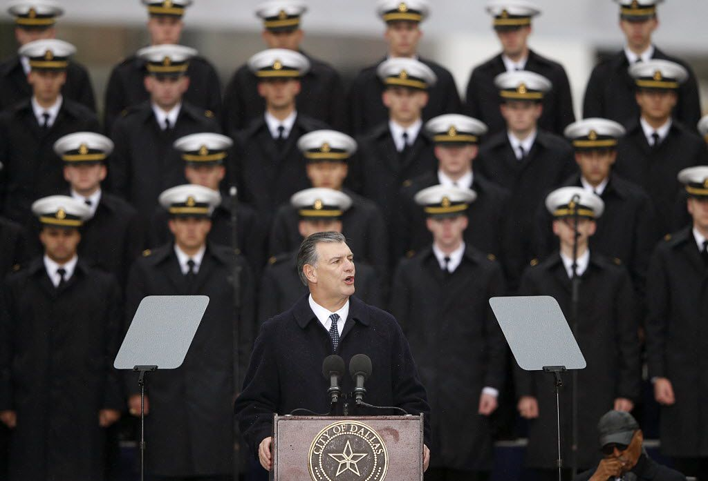 Dallas Mayor Mike Rawlings delivers a speech during the 50th-anniversary commemoration of John F. Kennedy's assassination at Dealey Plaza on Nov. 22, 2013. (Tom Fox/The Dallas Morning News)